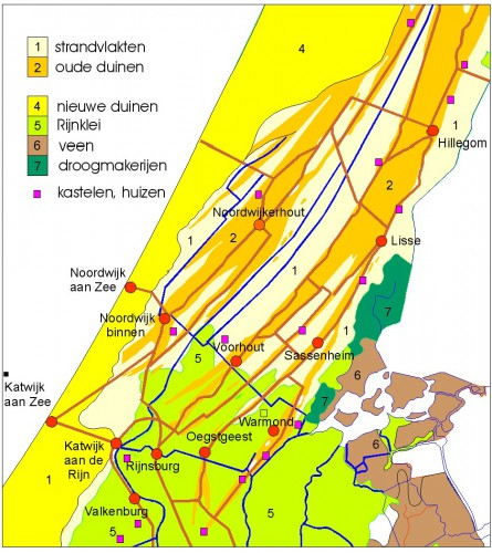 Kaart Cultuurhistorische Atlas Duin- en Bollenstreek